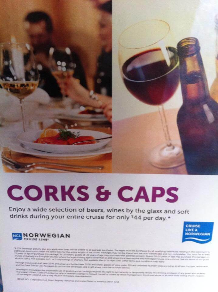 Norwegian ncl wines packages