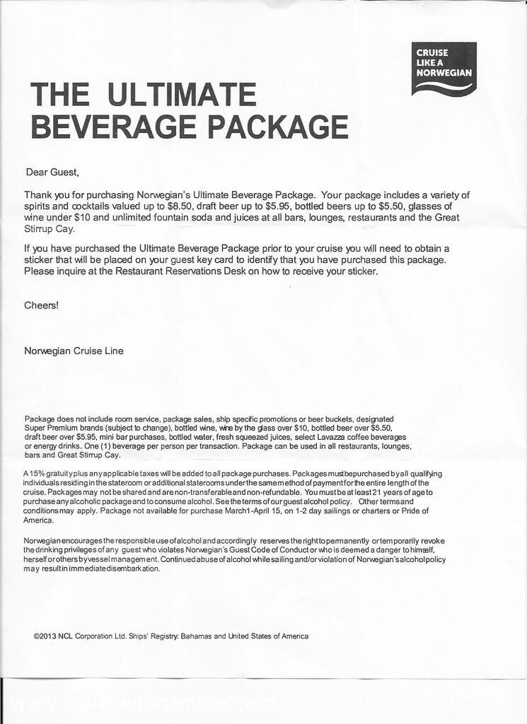 What is included in Norwegian's ultimate beverage package?