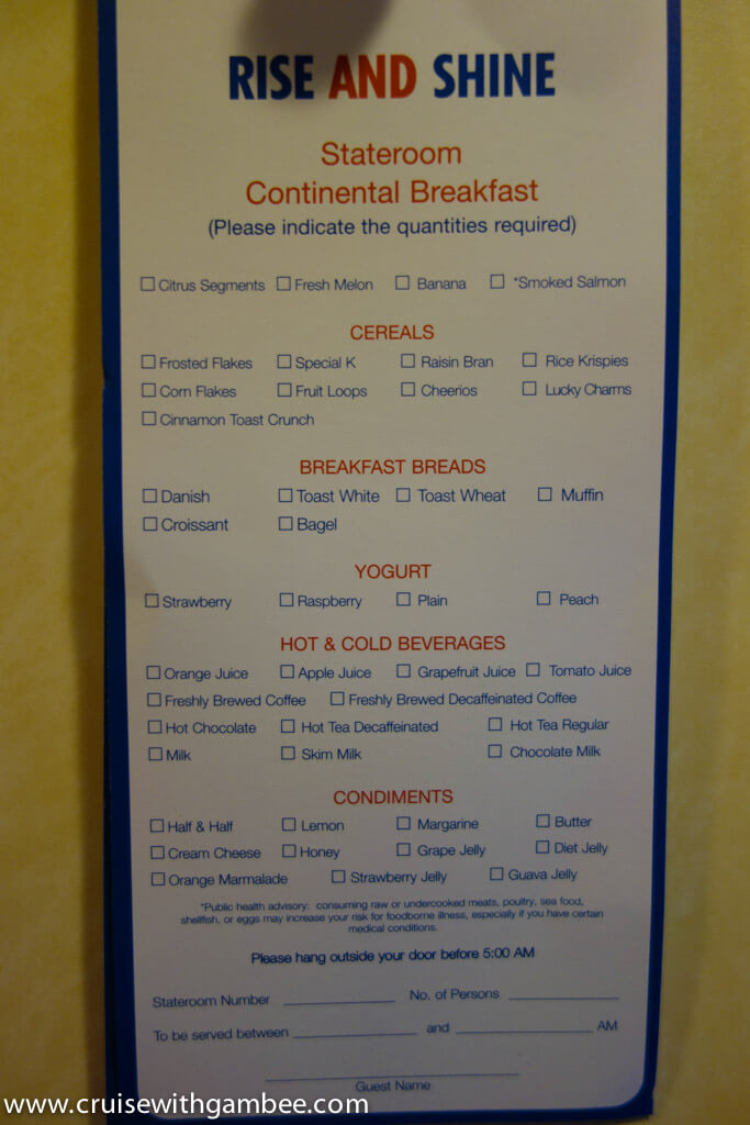 Carnival Room service Breakfast Menu