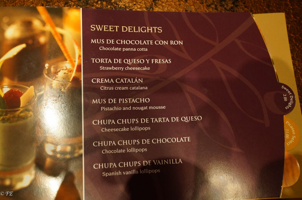 royal caribbean vintages menu
