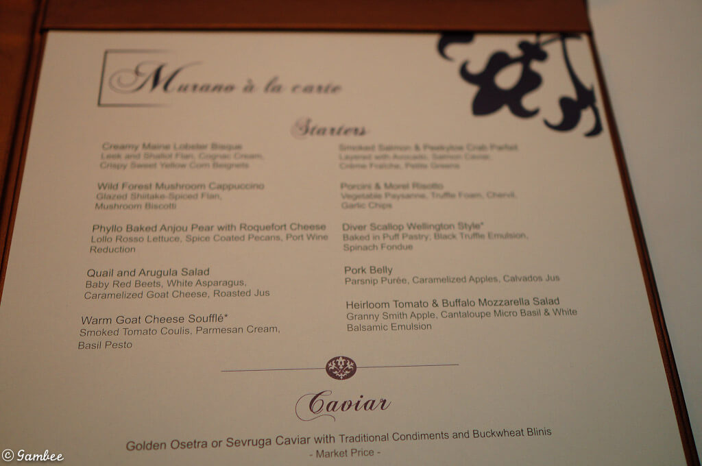 Murano menu celebrity eclipse
