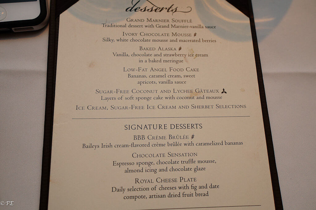 Royal Caribbean menu