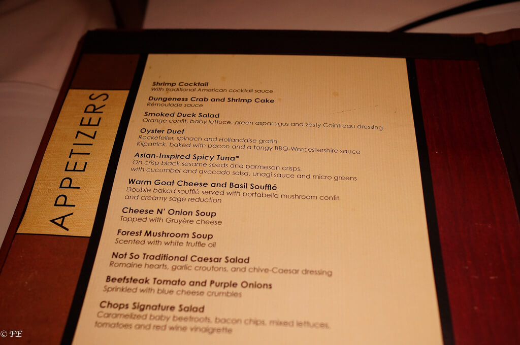 royal caribbean chops grille menu