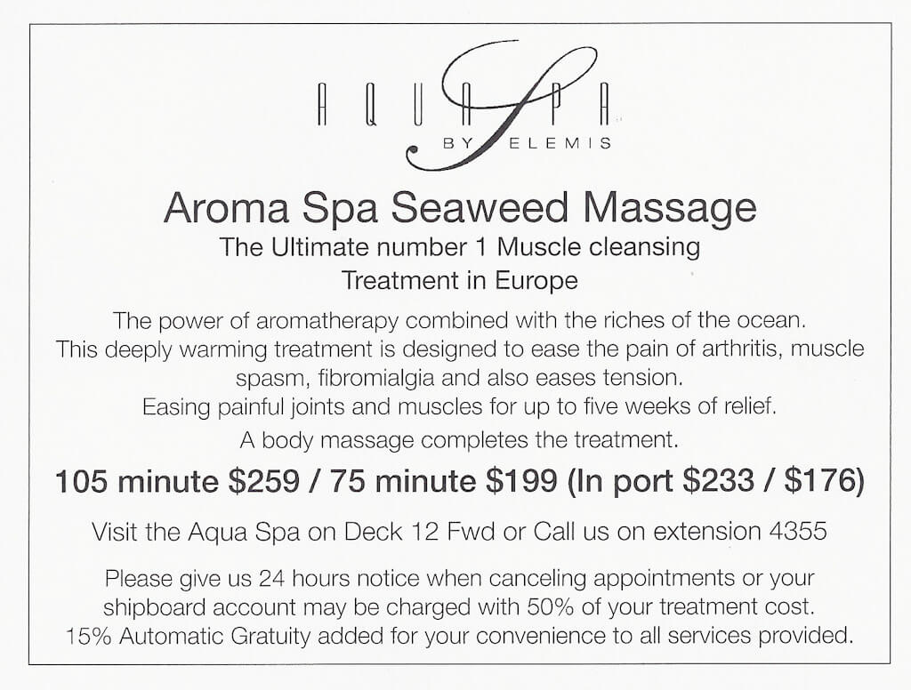 celebrity reflection spa prices