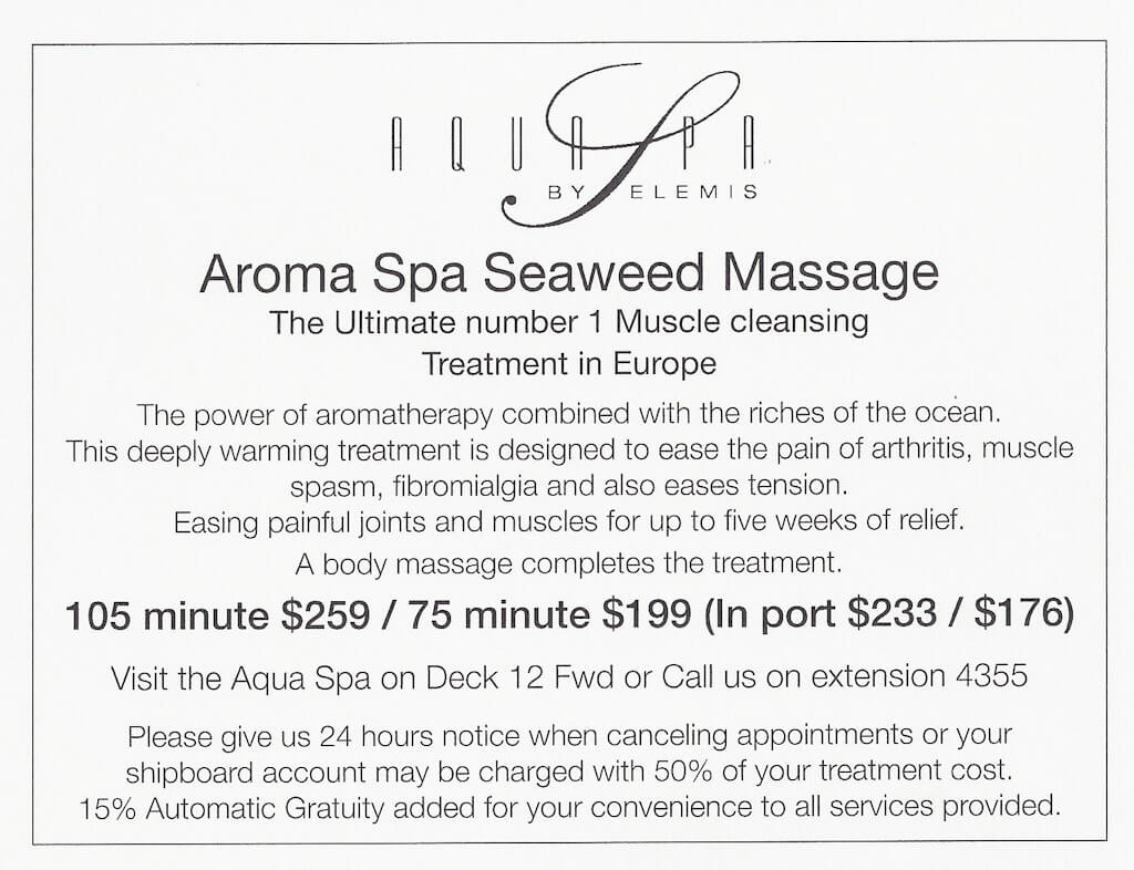 Celebrity Summit Spa prices