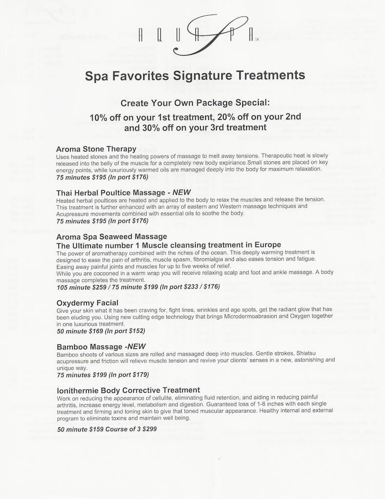 Celebrity Millennium spa prices