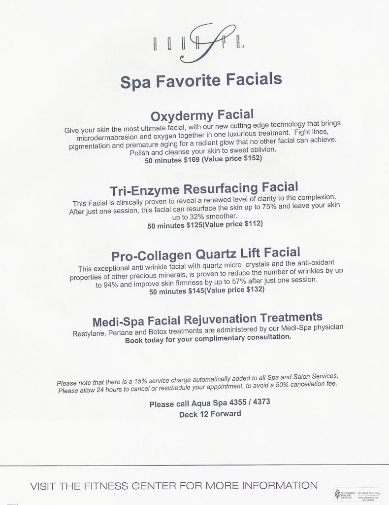Celebrity equinox spa prices