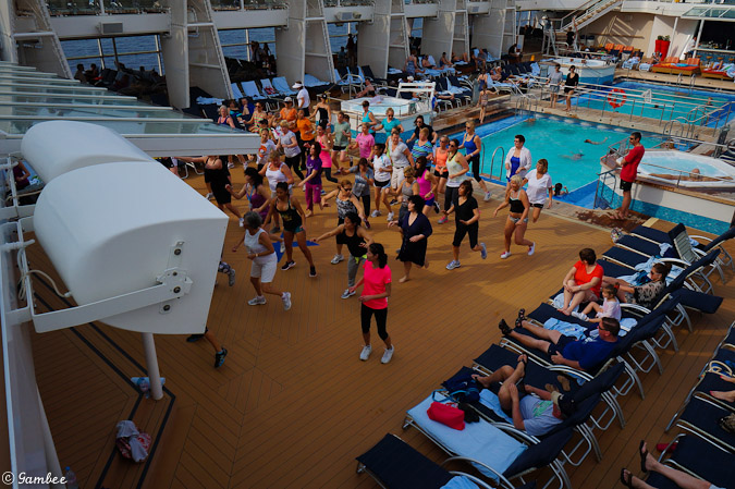 Celebrity Silhouette aerobics by the pool