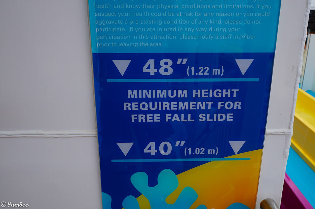 Norwegian Breakaway water slide minimum Height