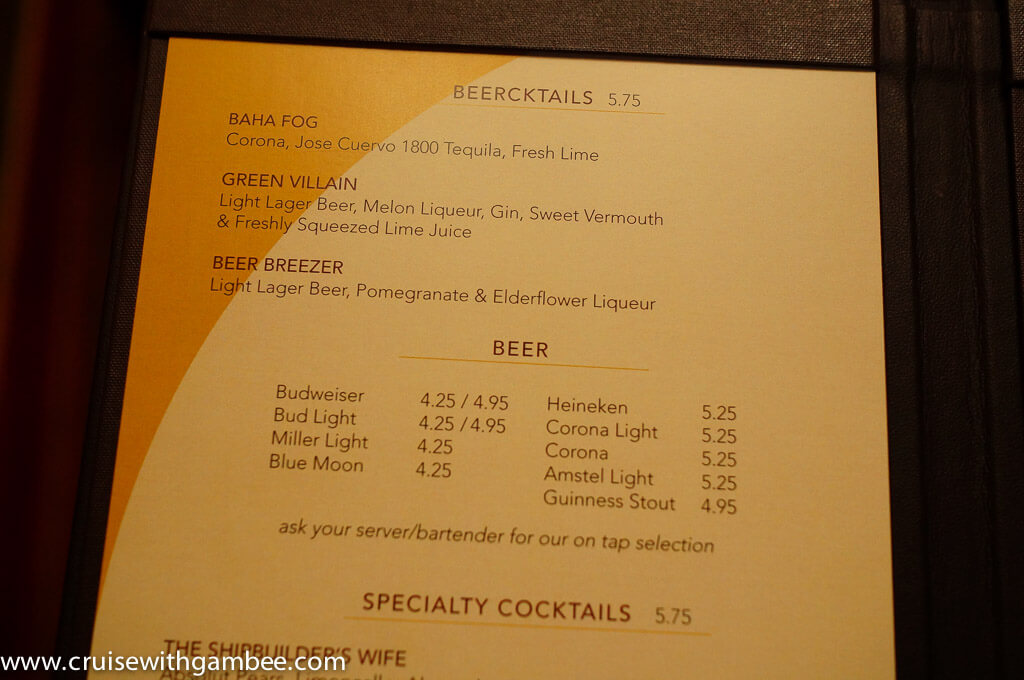 Disney Cruise Drink Lists And Prices Cruise With Gambee