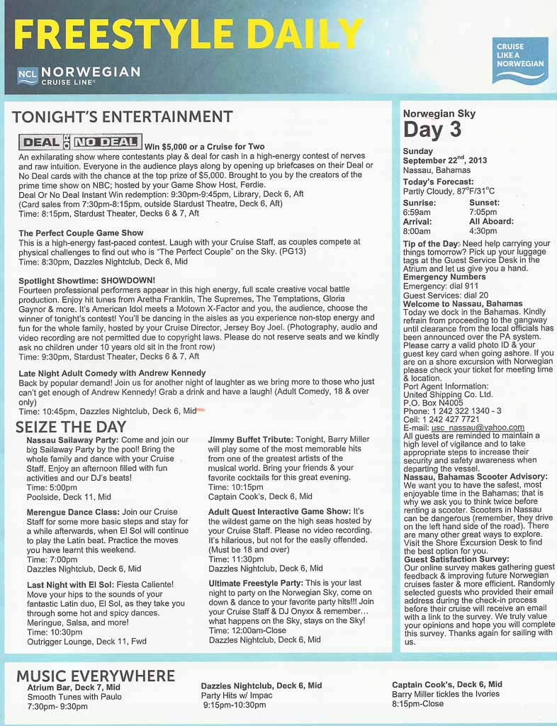 Norwegian Sky itinerary