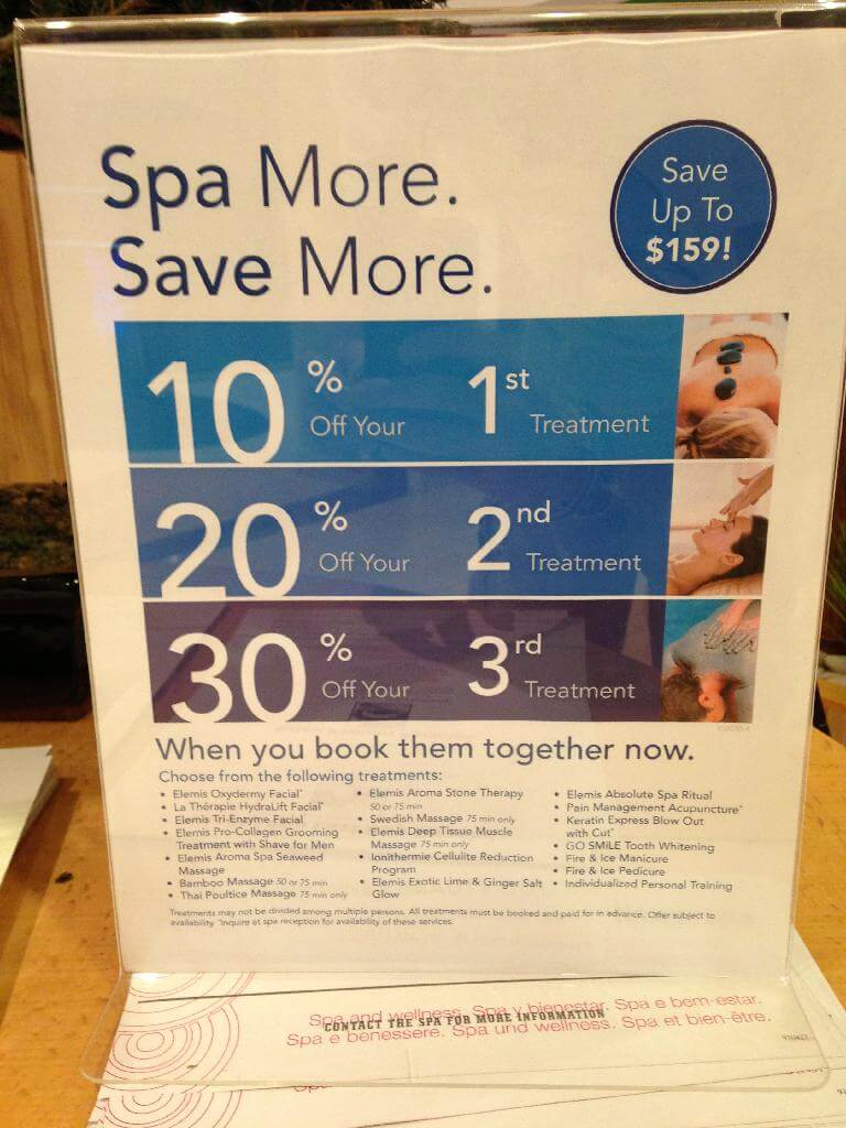 oasis of the seas spa prices