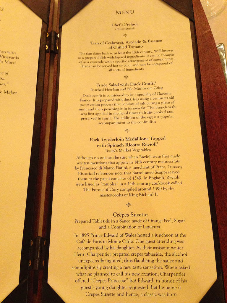 Princess Cruises Menus