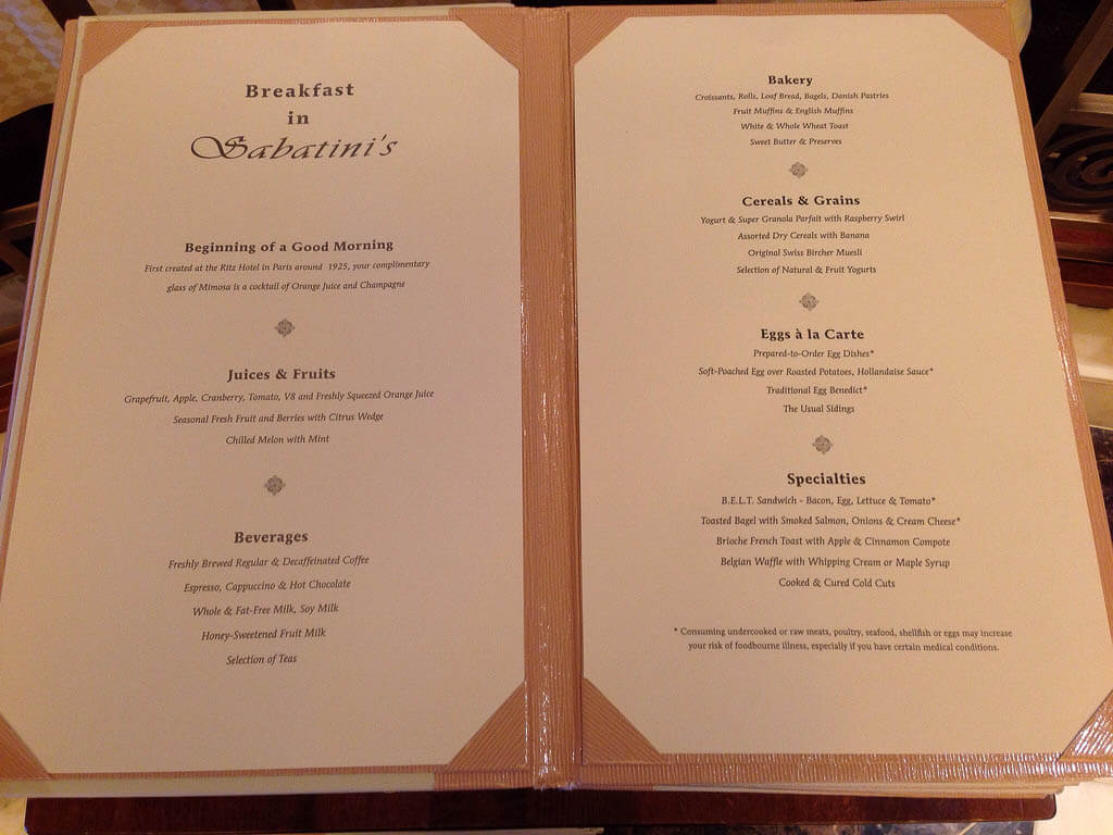 princess cruises menu
