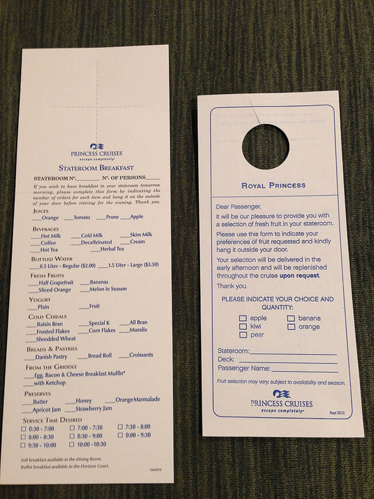 princess cruises room service menu