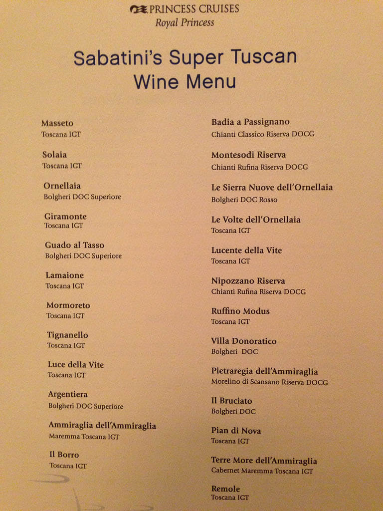 princess cruises drink menu