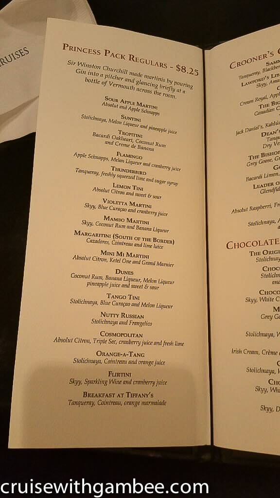 princess cruises drink price and menu17
