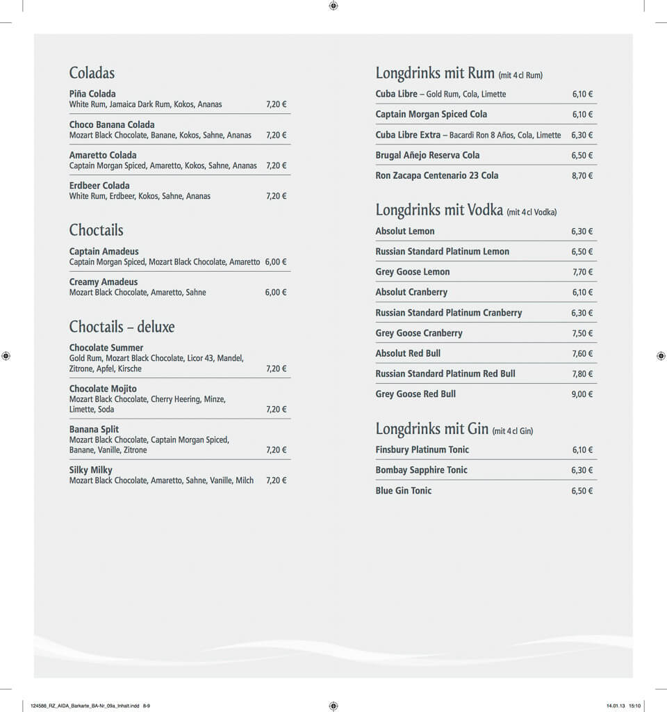 Aida Drink Menu
