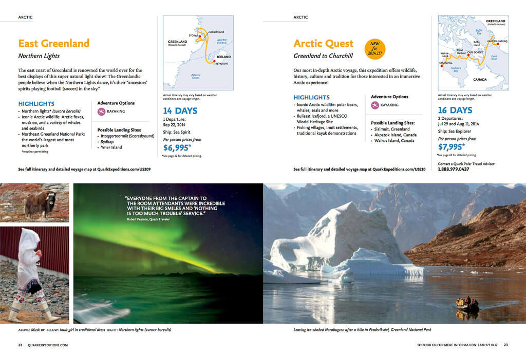 Quark Expeditions itineraries