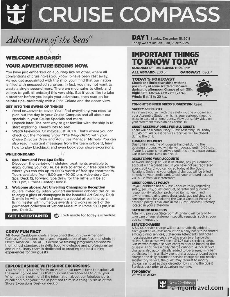 adventure of the seas itinerary