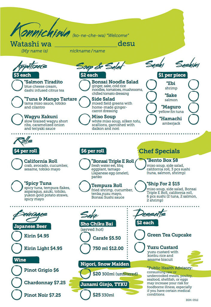 Carnival bonsai sushi menu