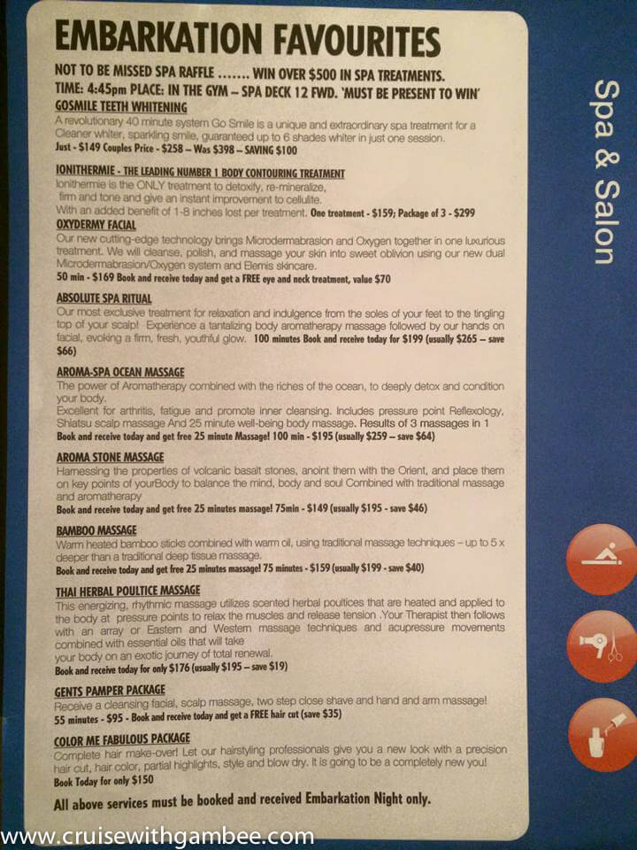 Carnival Cruise Spa treatment prices-2