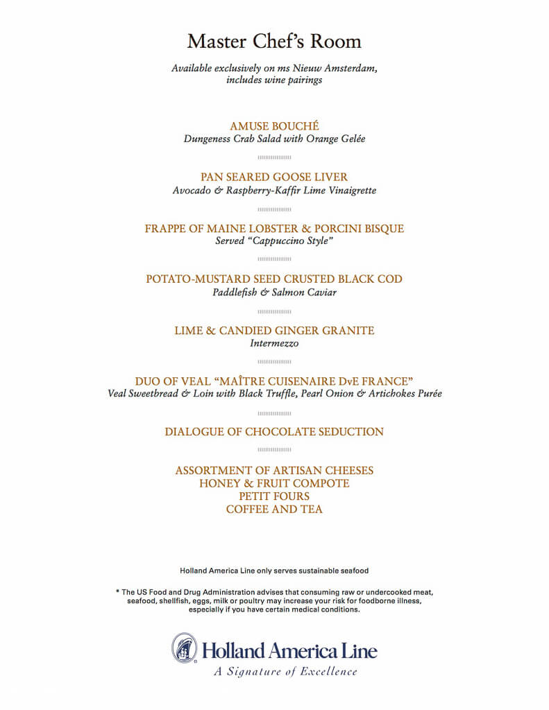 Holland america menu cruise with gambee holland america menu publicscrutiny Image collections