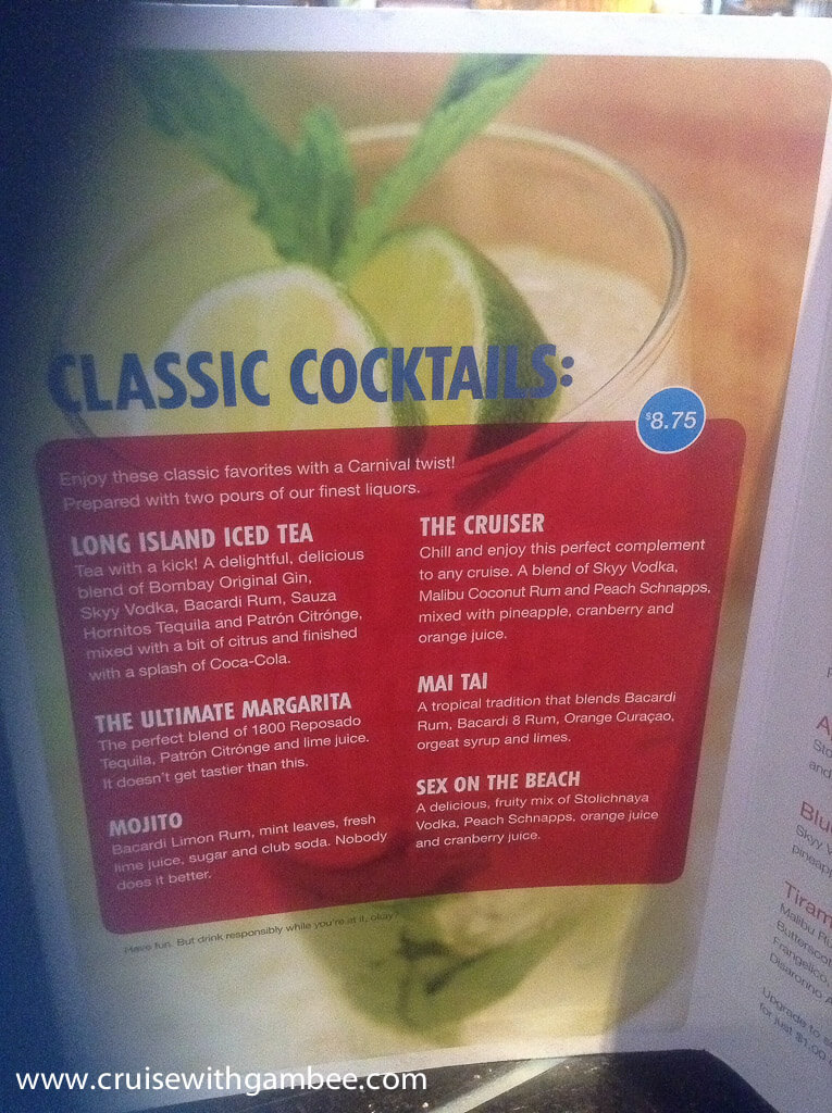 Carnival Cruise Drink Prices Cruise With Gambee