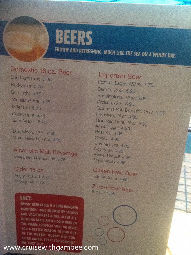carnival cruise beer prices