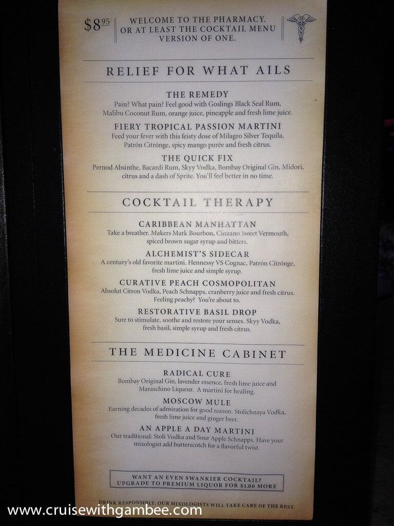 carnival cruise drink lists