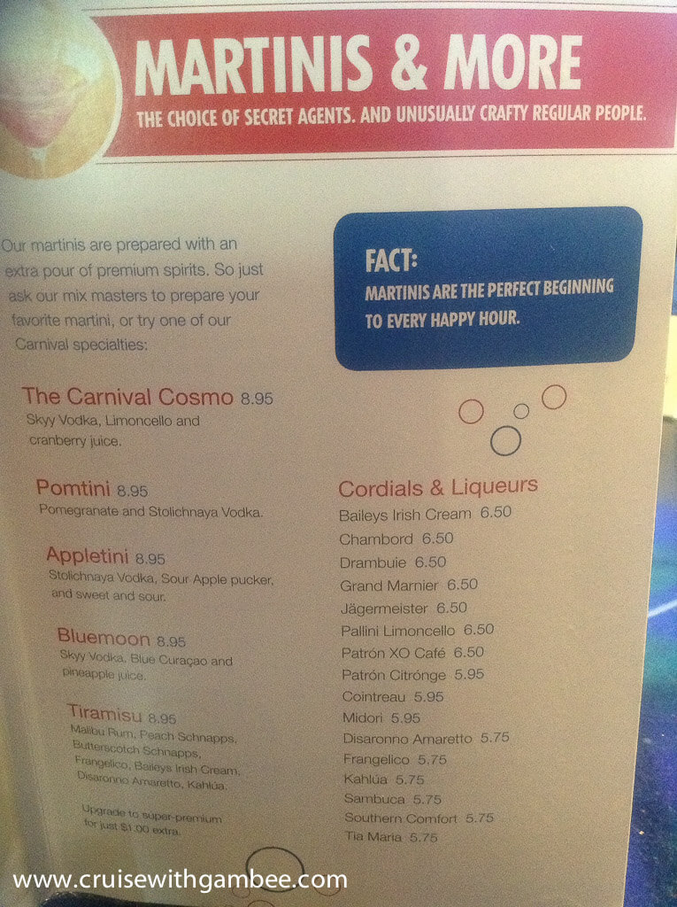 Carnival Cruise Drink Prices Cruise With Gambee - Drinking age on a cruise ship