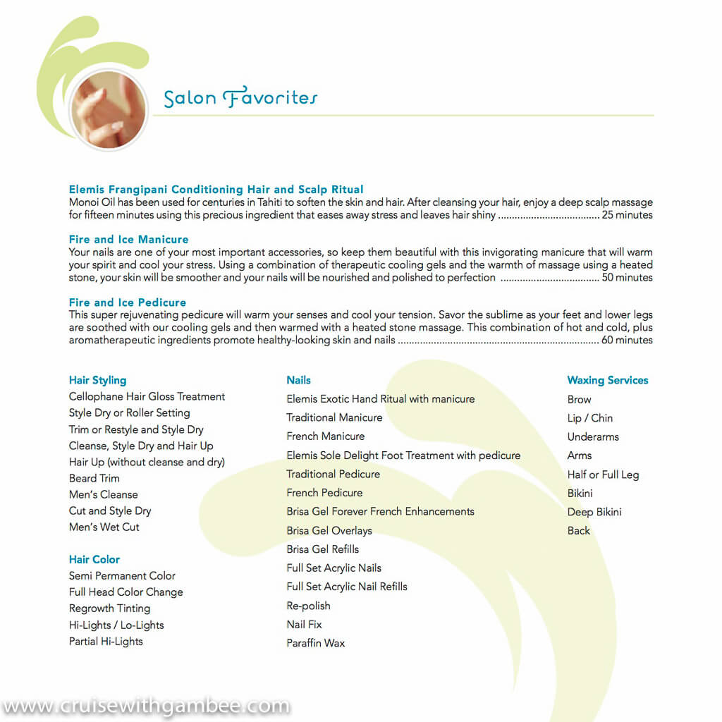 Carnival Victory Spa Prices