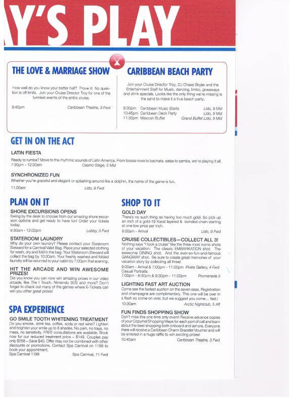 Carnival Victory Funtimes Daily Itinerary Cruise With Gambee