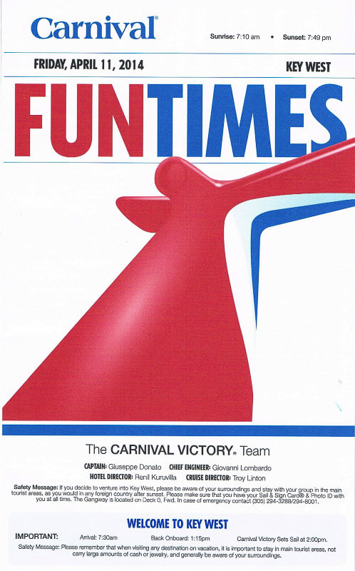 Carnival Victory FunTimes Daily Itinerary