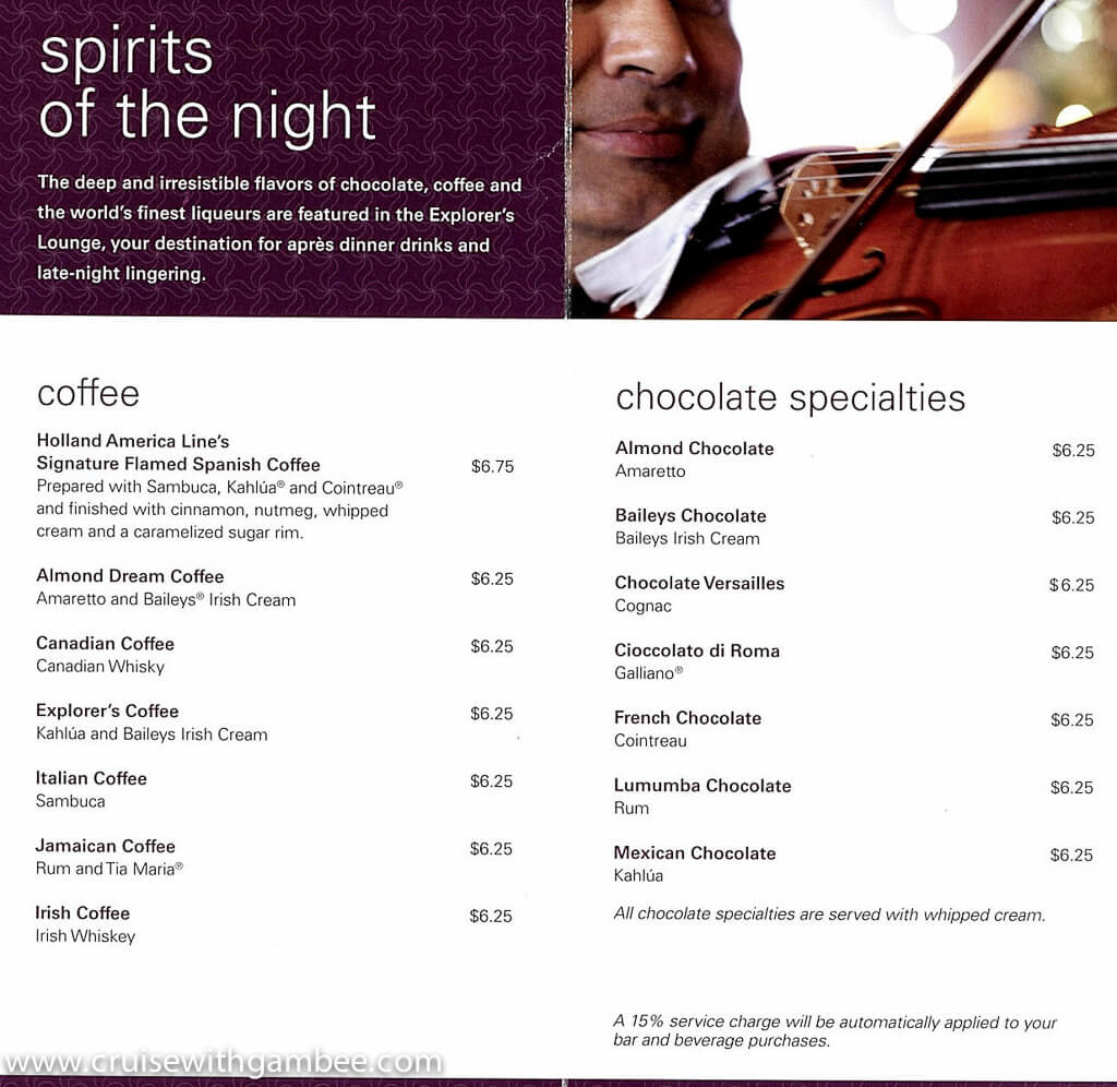 holland america drink prices