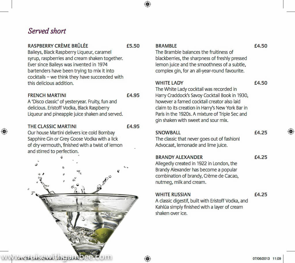 P&O Cruise Drinks Prices
