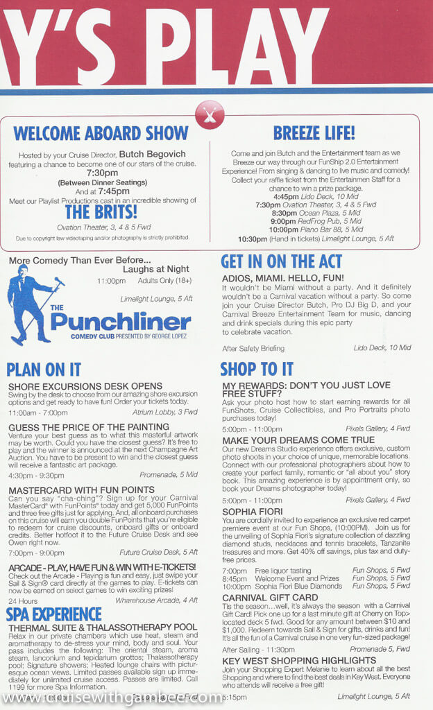Carnival Breeze Funtimes Daily Itinerary Cruise With Gambee
