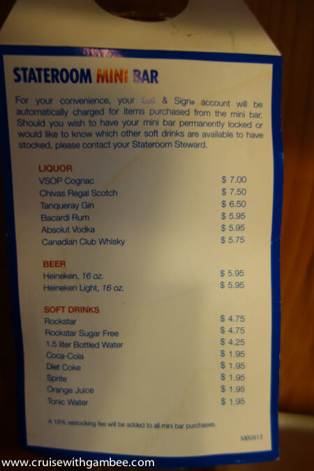 Carnival Breeze mini bar menu
