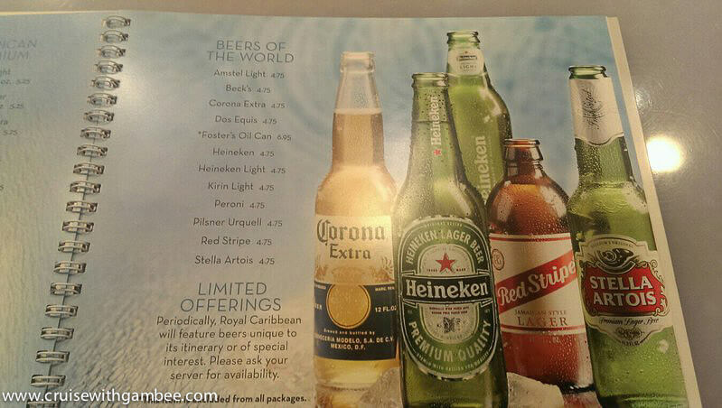 Royal Caribbean 2014 Drink Lists beers