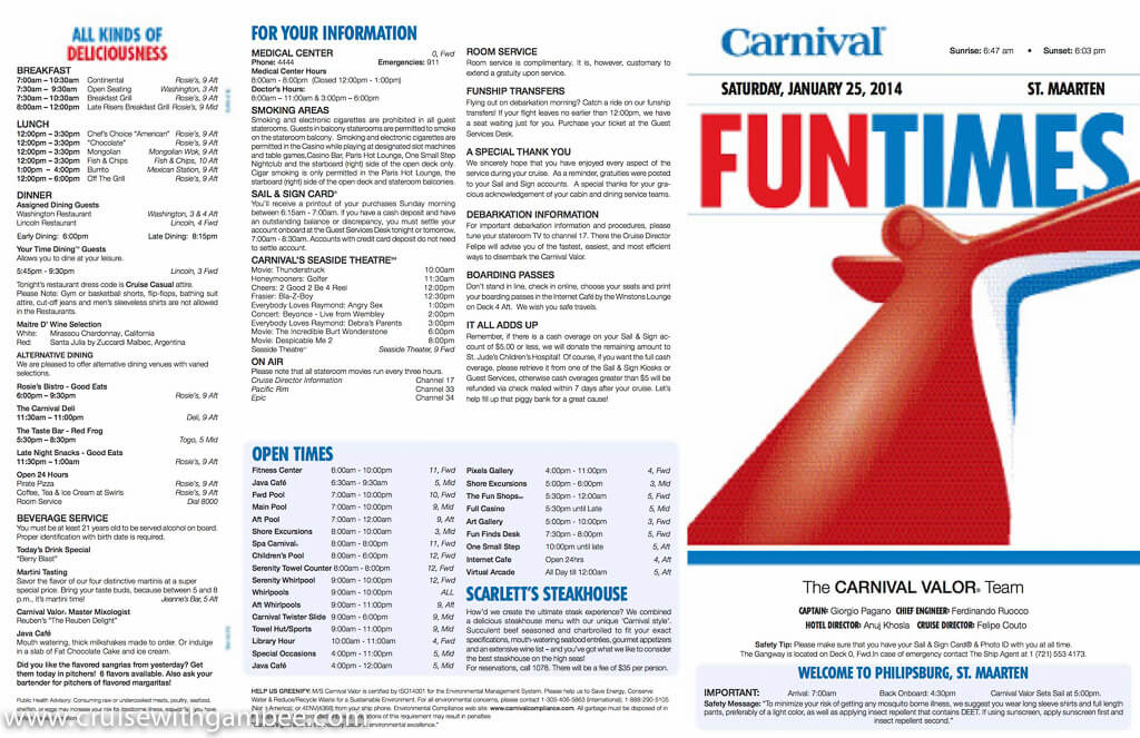 Carnival Valor Funtimes Daily Itinerary