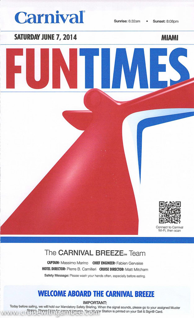 Carnival Breeze 8 Day daily funtimes Itinerary
