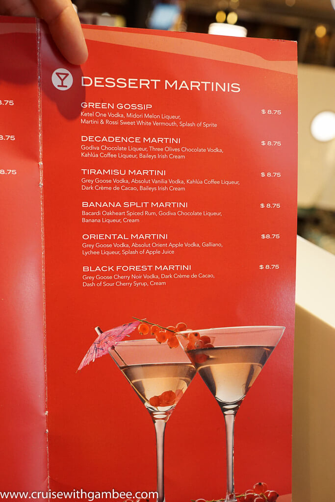 MSC Cruises Divina Drink Lists