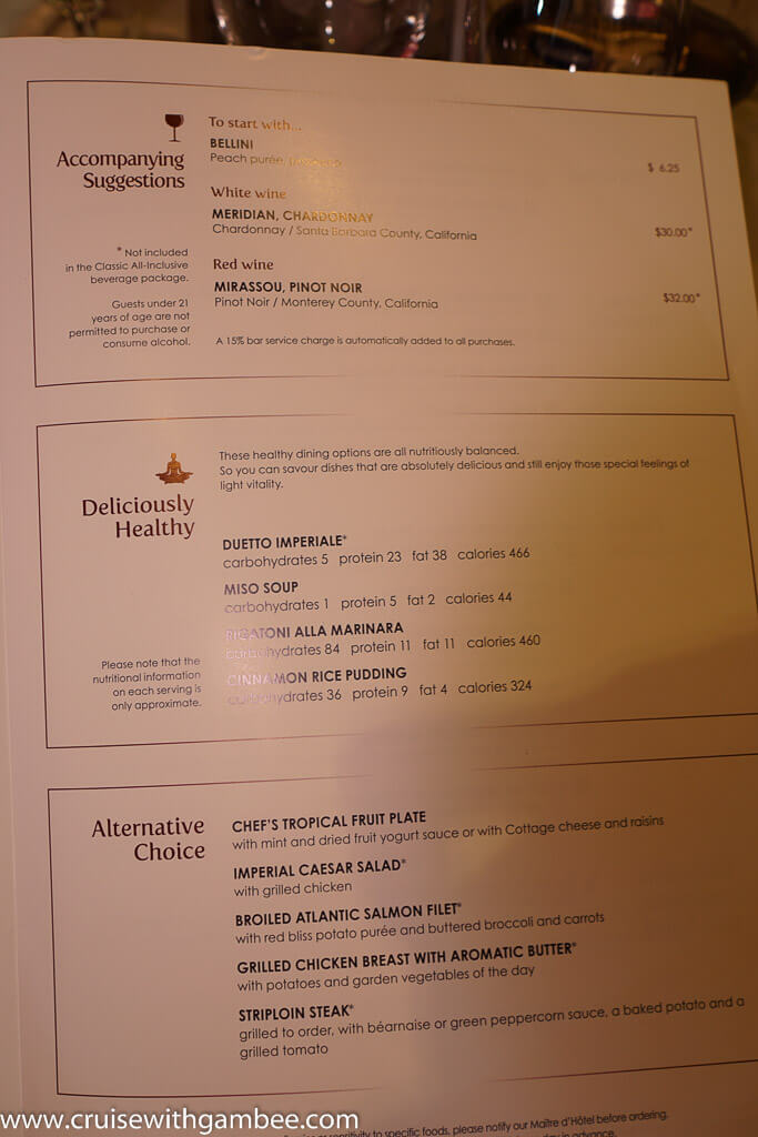Msc Cruises Divina Menus Cruise With Gambee