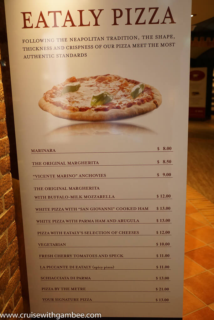 MSC Divina Cruise Ship Menus - pizza