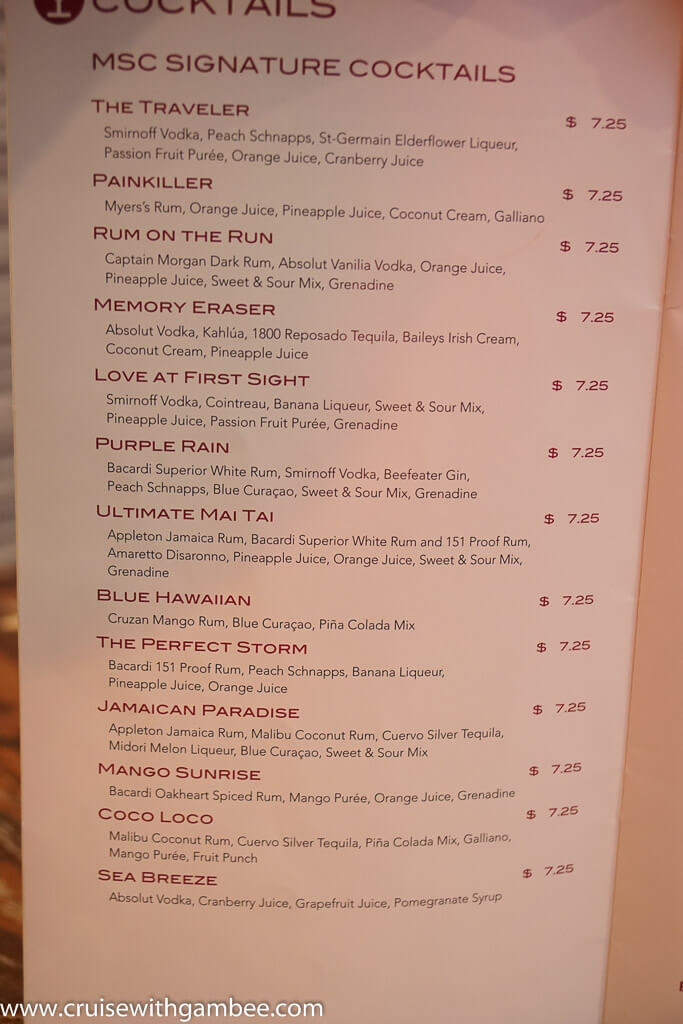 Drinks Prices On The Msc Splendida
