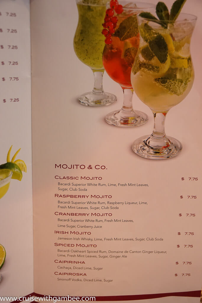 msc mojito prices