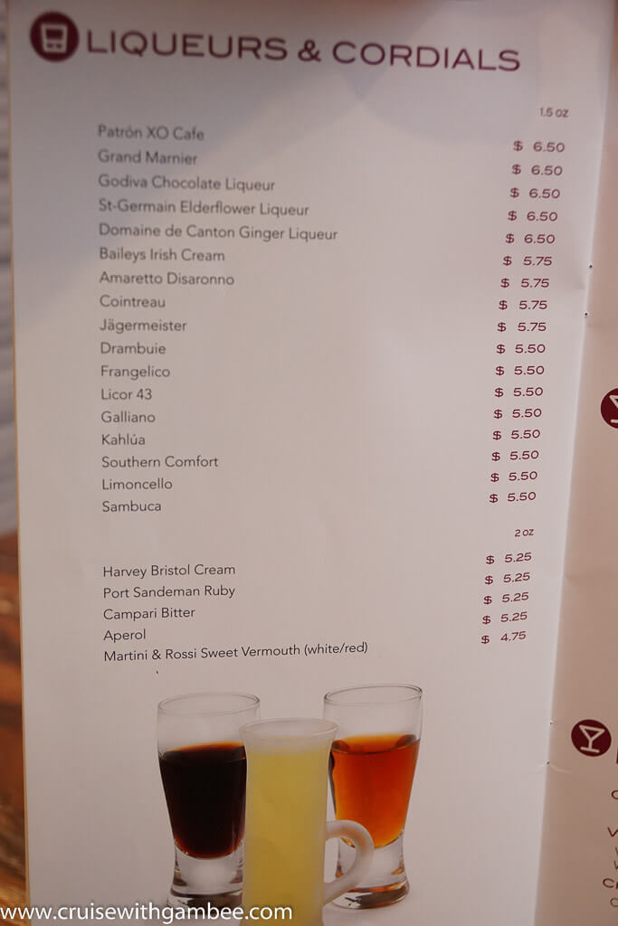 msc alcoholic drink prices