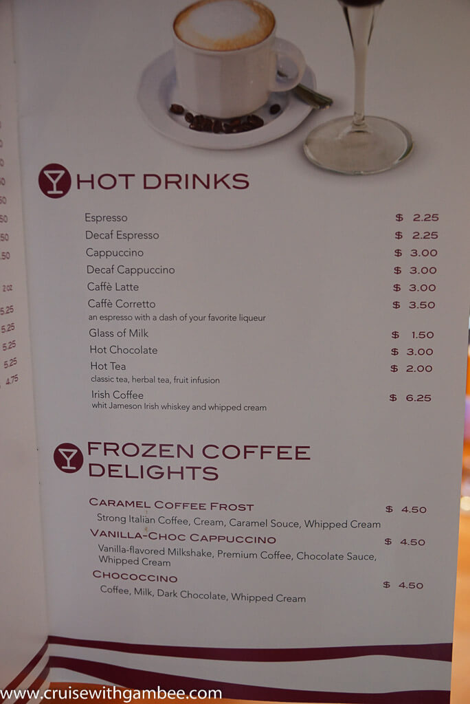 MSC Cruises Drink lists with prices  – cruise with gambee