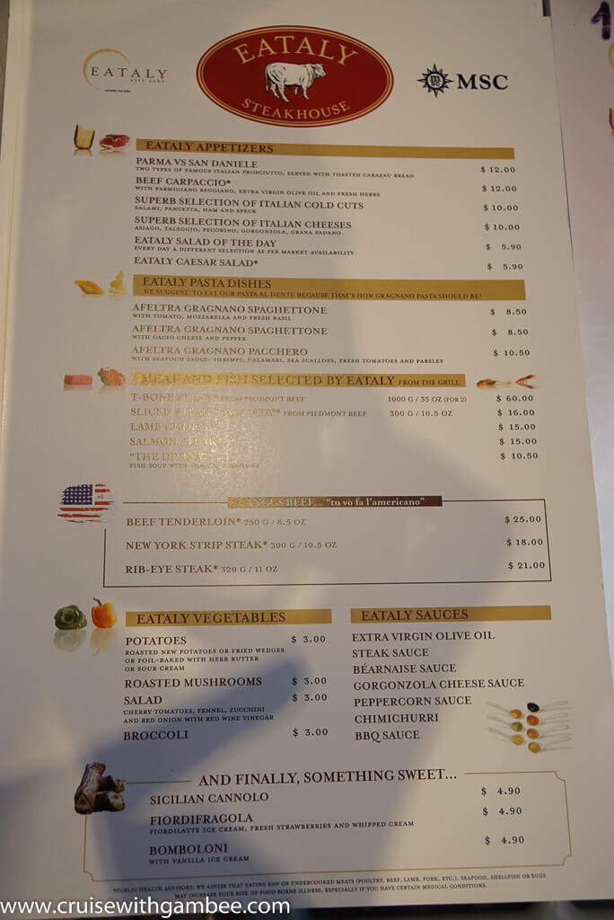 Msc Divina Room Service Menu