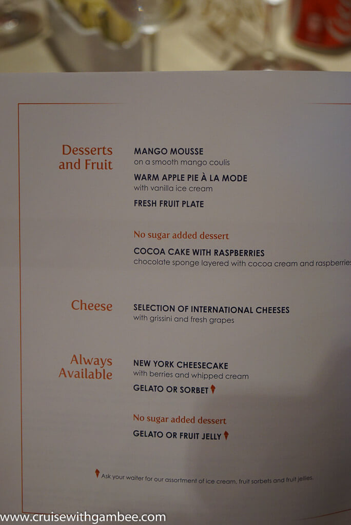 MSC Divina Cruise Ship Menus